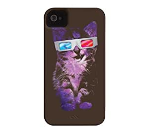 3D Sace Cat iPhone 4/4s Bistre Barely There Phone Case - Design By Humans