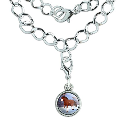 Clydesdale Horse Running in Snow Silver Plated Bracelet with Antiqued Charm