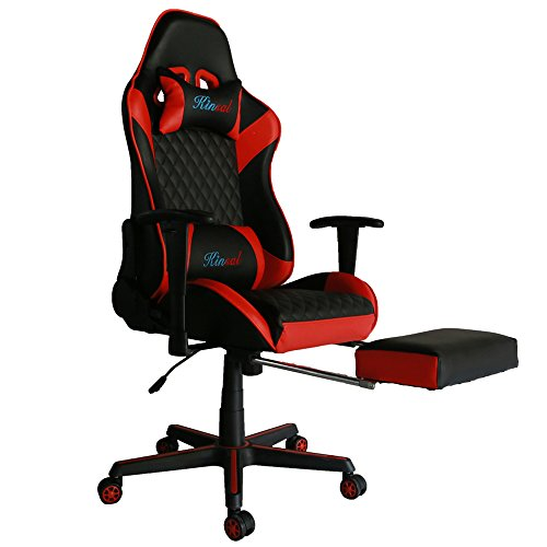 Kinsal Gaming Chair with Footrest, Executive Computer Chair High-back Ergonomic Desk Chair Racing Chair, Leather Office Chair Including Headrest and Lumbar Support (Red)