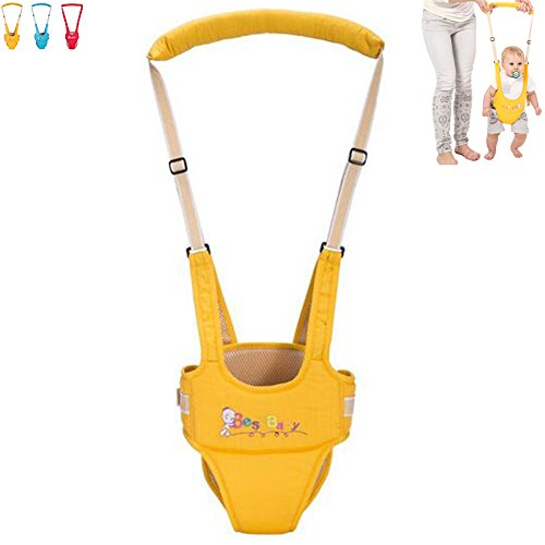 OLizee Breathable Handheld Baby Child Harnesses Learning Assistant Walker Toddler Walking Helper Kid Safe Walking Protective Belt(Yellow)