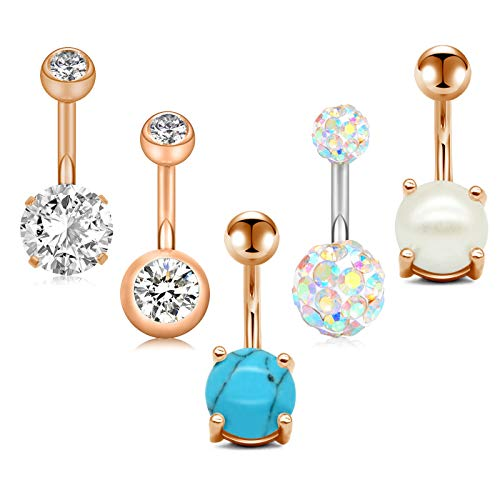 Zolure 14G Belly Button Rings Navel Rings 316L Stainless Steel Body Piercing 5PCS Rose Gold ()