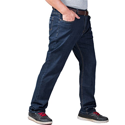 Coac3 Mens Big and Tall High Stretch Jeans Denim Business Relax Pants Dark Blue by Coac3 (Image #4)