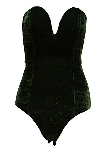 Joeoy Women's Army Green Vintage Bandeau Sweetheart Back Lace Up Velvet Bodysuit Jumpsuit Leotard-S
