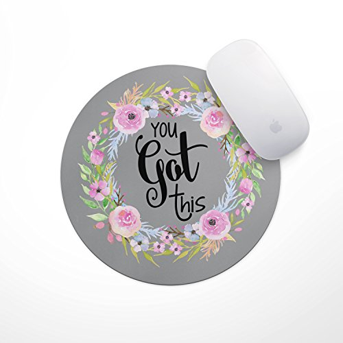 Floral Mouse Pad Motiavation Quote You Got This Neoprene Inspirational Quote Mousepad Office Space Decor Home Office Computer Accessories Mousepads Watercolor Pink and Blue - Springs Hours Disney Stores