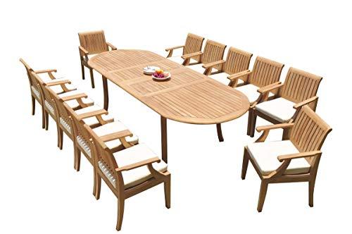 TeakStation 12 Seater Grade-A Teak Wood 13 Pc Dining Set: 118