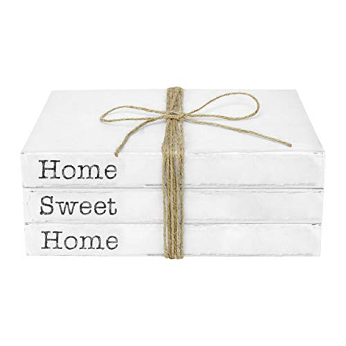 TenXVI Designs Decorative White Books, Set of 3 – Home Sweet Home Stacked Books – Rustic Farmhouse Accent Decor for…