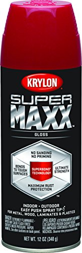 Case of 6, Krylon SUPERMAXX, 12 OZ, Cherry Red, Gloss Brilli