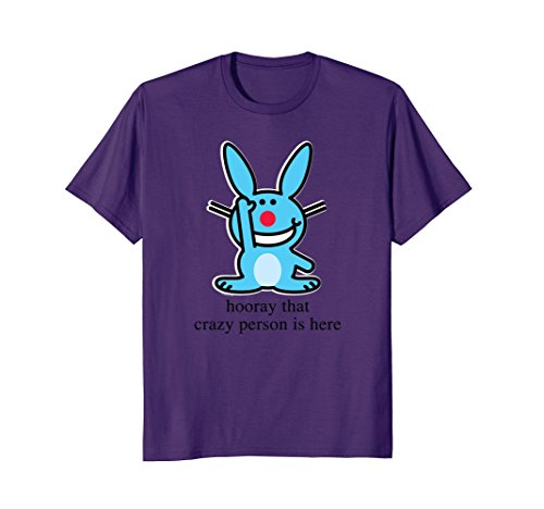 Mens It's Happy Bunny Hooray that crazy person is here XL Purple