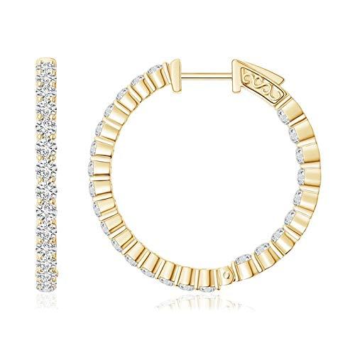 Round Diamond Inside Out Hoop Earrings in 14K Yellow Gold (1.6mm Diamond)