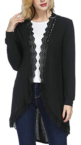 Faatoop Women's Long Sleeve Kimono Cardigan Lacy Loose Cover Up Tops Sweater Coat (Black, XXL)