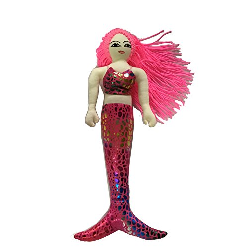 [Mermaid Princess Doll Fun Toy Fabric Metallic Rainbow Color Figurine Handmade (Large, Pink)] (Wine And Cheese Couples Costume)
