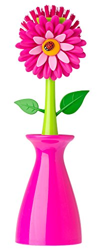 (Vigar Flower Power Pink Dish Brush with Vase, 10-Inches, Pink, Green)