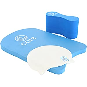 Swimming Pool Kit: Kickboard, Pull Buoy, Swim Cap and Mesh Bag | By Core Swim Training