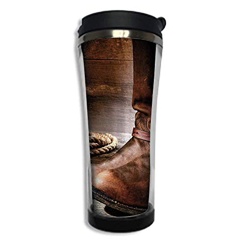 Customizable Travel Photo Mug with Lid - 14.2OZ(420 ml) Stainless Steel Travel Tumbler, Makes a Great Gift by,Western,Classical Cowboy Boots Traditional Ranching Spurs Hat and Rope on Antique Floor Pr