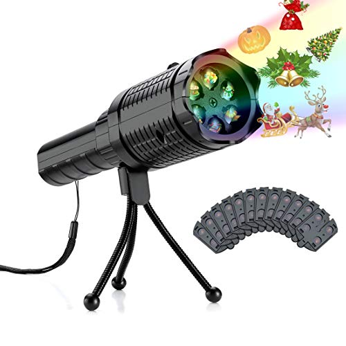 Christmas LED Projector Lights - RockBirds 12 Slides Projection Holiday Lights, Battery-Operated 2 in 1 Decoration Light & Handheld Flashlight for Halloween Easter Home Party Birthday Decoration