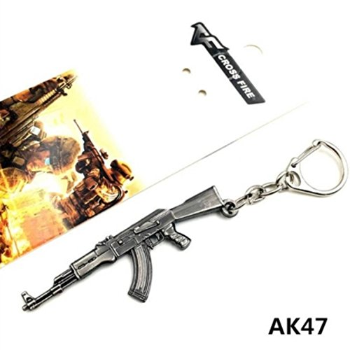 1 Pc Mini Pocket AK47 Rifle Gun Keychain Keyring Keyfob Soldier Warrior Police Cop Shooter Weapon Pendant Keys Chains Rings Strap Wrist Eminent Popular Cute Wristlet Utility Keychains Tool, Type-01