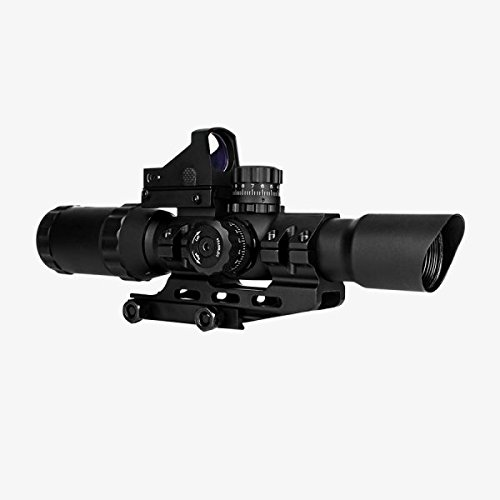 Trinity 1-4x28 Assualt Optic (illuminated Mil-Dot Reticle) Integral Mount + Backup Dot Sight - Fits Weaver Picatinny Rails S&W M&P 15-22 SR22 SR556 Hk-416 Mossberg 715t ATR MVP MMR - O Hk Lens