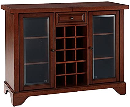 Bon Crosley Furniture Lafayette Sliding Top Bar Cabinet   Vintage Mahogany