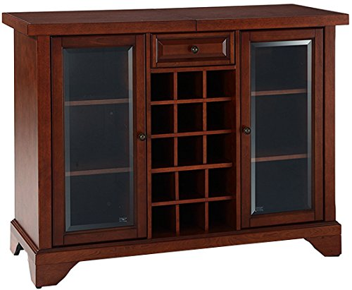 Crosley Furniture Lafayette Sliding Top Bar Cabinet - Vintage Mahogany (Bar Top Cabinet)