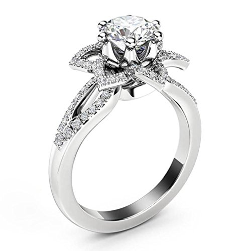 1b10e67c1bd71 Promise Ring, Muranba Sterling Silver Floral Round Diamond Sunflower ...