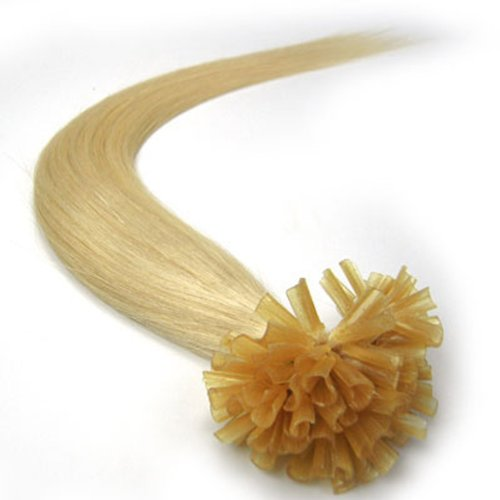 Beauty Online 26 Inch Bleach Blonde (#613) 100s Nail U Tip Straight Remy Human Hair Extensions - 100% human hair extensions Meiya