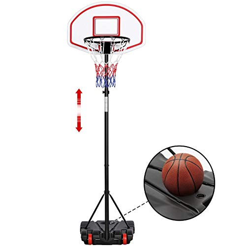 Yaheetech Portable Basketball Hoop Stand Backboard System Height Adjustable 5.2-7
