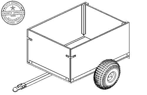 104 Trailer Plan - 4'x3' Off Road Utility Cart Trailer DIY How-to Blueprint by Master Plans & Design