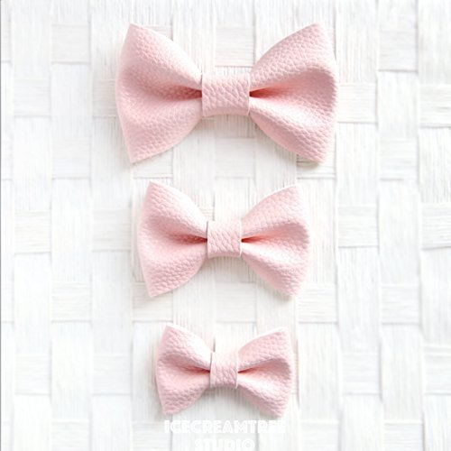 Faux Leather Pink - Bow Tie Collar Slide On, Collar Add On Bowtie, Bow Collar Accessories by Icecreamtree Studio