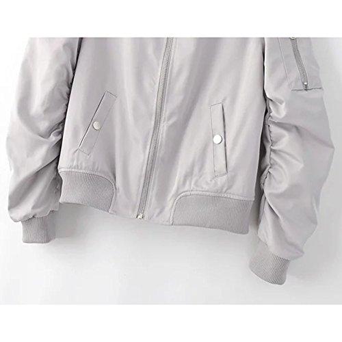 Baseball Ragazzi Pilota Inverno Ragazze Hibote Moda Donna Zipper Outwear Autunno Uomo Capospalla Cappotto Giacche Grigio per nCPqPIt