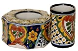 Talavera Toothbrush Holder With Glass