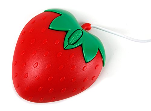 Novelty 'Strawberry' Shaped Mini Laptop / PC Mouse for the Medion Akoya P6667 - by (Medion Retractable Usb Cable)