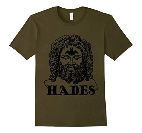 Men's Hades T-Shirt Greek God Mythology Cerberus Graphic Tee Large Olive