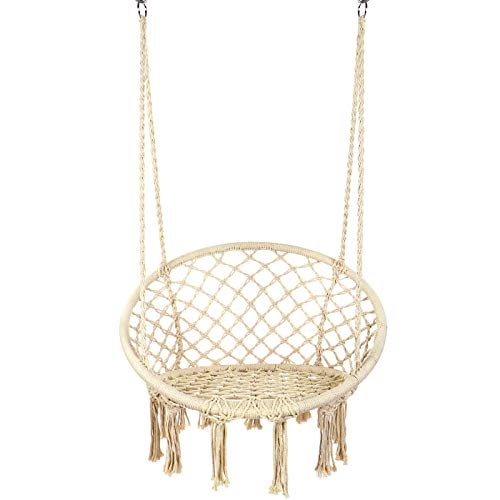 Y- STOP Hammock Chair Macrame Swing – Max 330 Lbs-Hanging Cotton Rope Hammock Swing Chair for Indoor and Outdoor Use (Beige)