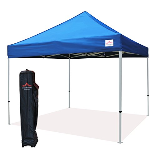 UNIQUECANOPY 300D Classic 10x10 Ez Pop up Canopy Instant Tent Outdoor Party Portable Folded Commercial shelter, with Wheeled Carrying Bag Steel Blue