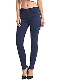 Instar Women's Full-Length Skinny Fit Side Pockets Cargo Pants