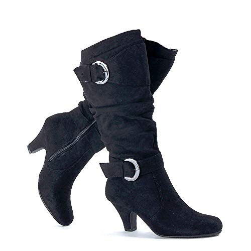 Guilty Heart - Womens Comfortable Winter Strappy Slouchy Buckle Low Heel Boots (8.5 M US, 18 Black Suede)