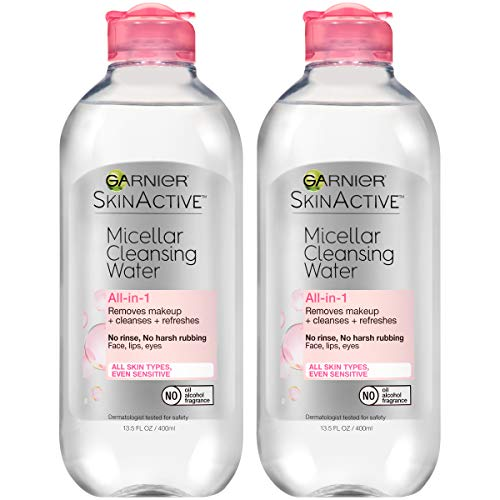 Garnier SkinActive Micellar Cleansing Water, For All Skin Types, 13.5 Fl. Oz (2 Count) (Best Gentle Face Wash Drugstore)