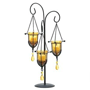 New Imperial Dynasty Candelabra Amber Gold Glass Trio Votive Candle Holder Stand