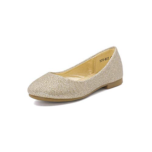 Dream Pairs MUY Mary Jane Casual Slip On Ballerina Flat (Little Girl),11 M US Little Kid,MUY-GOLD GLITTER