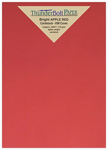 50 Bright Apple Red Color Cardstock 65# Cover Paper - 5