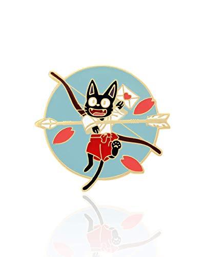 Jiji Black Cat Samurai Studio Samurai Ghibi Enamel Pin Japanese Kitty Fashion Accessory for Lapels, Denim Jackets, Hats, Bags, Dress Shirts ()