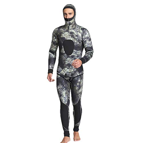 Men 5mm Neoprene Thermal Wetsuits Scuba Diving 2 Pieces Swim Suit Jackets Pants Gray