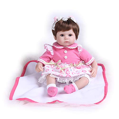 Pompon Reborn Baby Dolls Girl Look Real Lifelike Toddler Silicone Vinyl Light Pink Dress 16 Inches Baby Dolls Blanket (PP016)