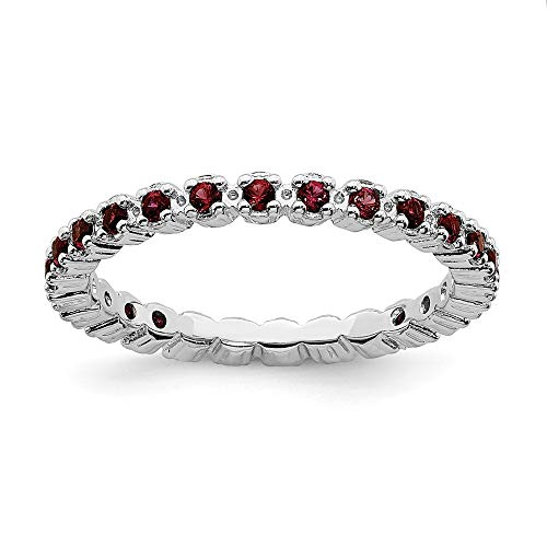 (925 Sterling Silver Red Garnet Band Ring Size 7.00 Stone Stackable Gemstone Birthstone January Fine Jewelry Gifts For Women For)