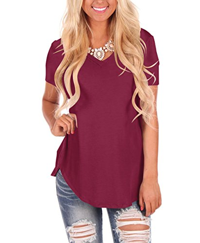 Gepoetry Casual Loose T-Shirts For Women Short Sleeve Summer Plus Size Tops (0-Burgundy, XX-Large)