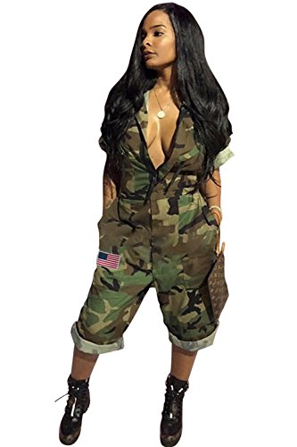 (ReachMe Womens Short Sleeve Independence Day Camo Jumpsuit Shorts with Pockets(Camo,XL))