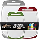 Gorilla Grip Oversized Cutting Board, 3 Piece, Easy Grip Handle, Juice Grooves, Non-Slip, Extra Large Thick Chopping Boards, Dishwasher Safe, Non Porous, Kitchen, Serving, Set of 3, Gray, Red, Green