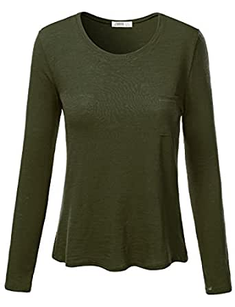 J.TOMSON Women's Basic Long Sleeve Round Neck Pleated Top with Chest Pocket OLIVE S