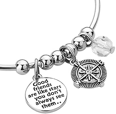 85c03daa8f253 JewelryJo Friends Life Compass BFF Adjustable Engraved Bangles Charm ...