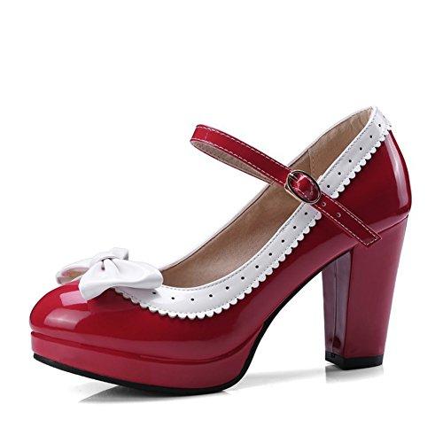 Talla Cuero Moda Para Tamaño Boca 40 Código Tacones Poco 43 Rojo Heel Banda Sintético Profunda Chunky Mujer Hebilla 34 color Verano Bowknot De Zapatos Ezqx6PwP